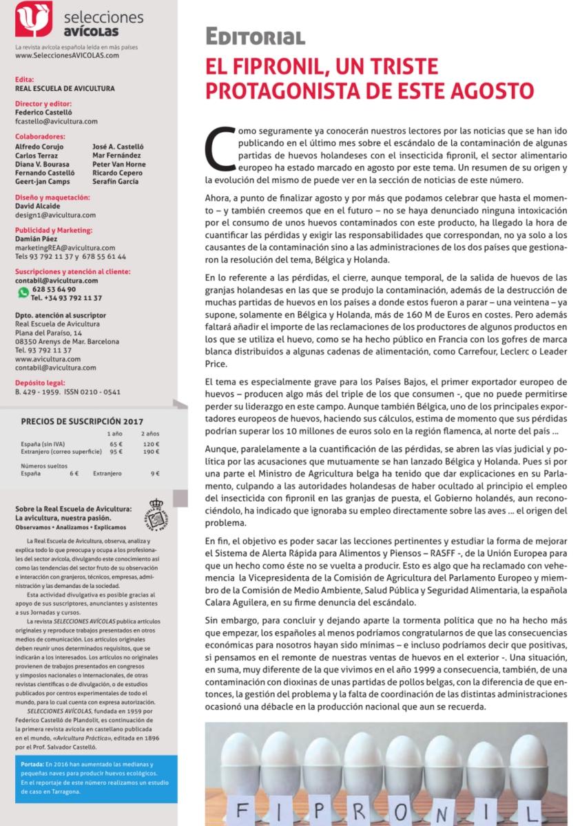 Editorial El Fipronil, un triste protagonista de este agosto