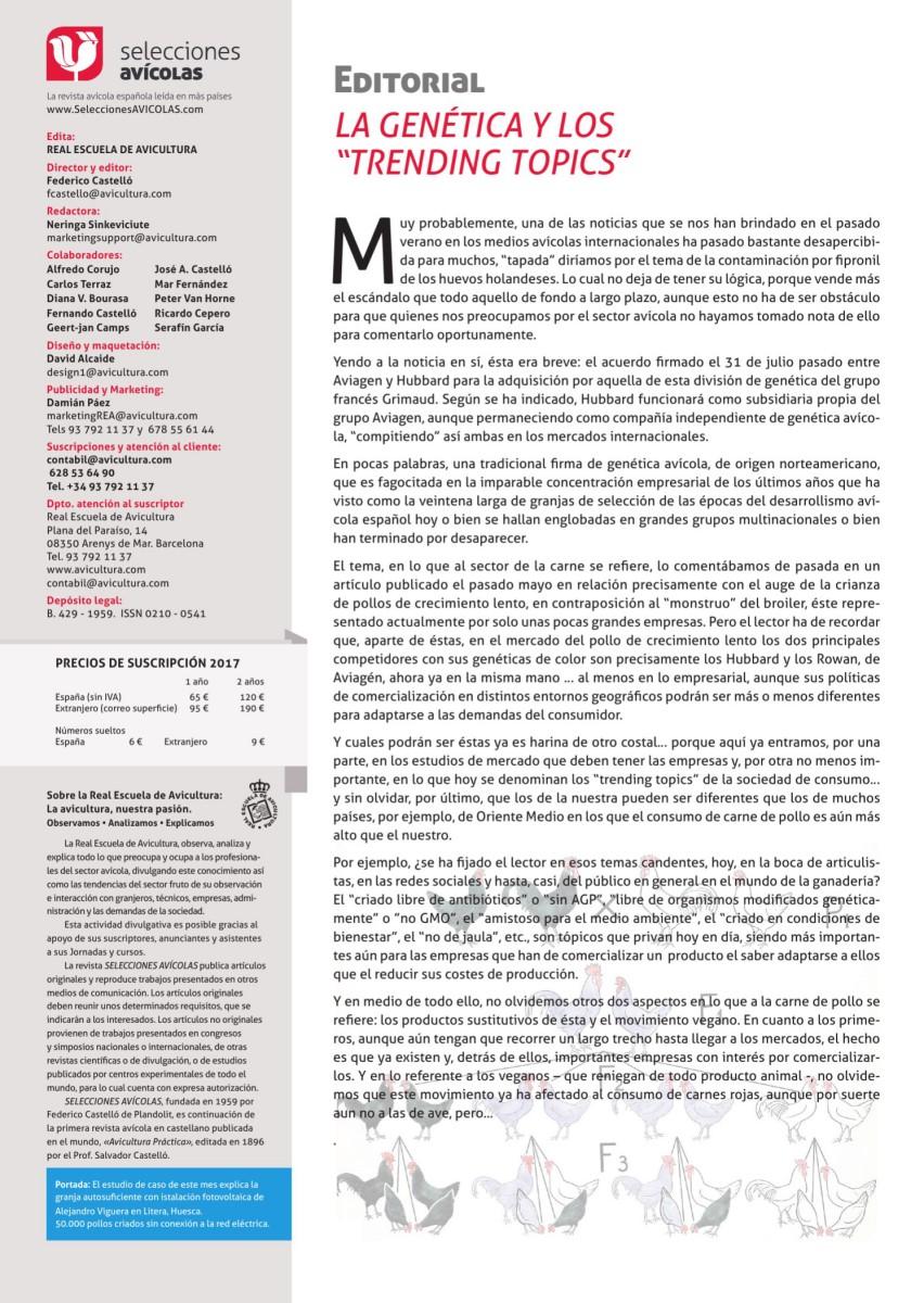 """Editorial SELECCIONES AVICOLAS: La genética y los """"trending topics"""""""