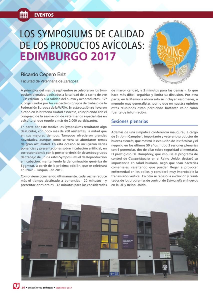 LOS SYMPOSIUMS DE CALIDAD DE LOS PRODUCTOS AVÍCOLAS: EDIMBURGO 2017