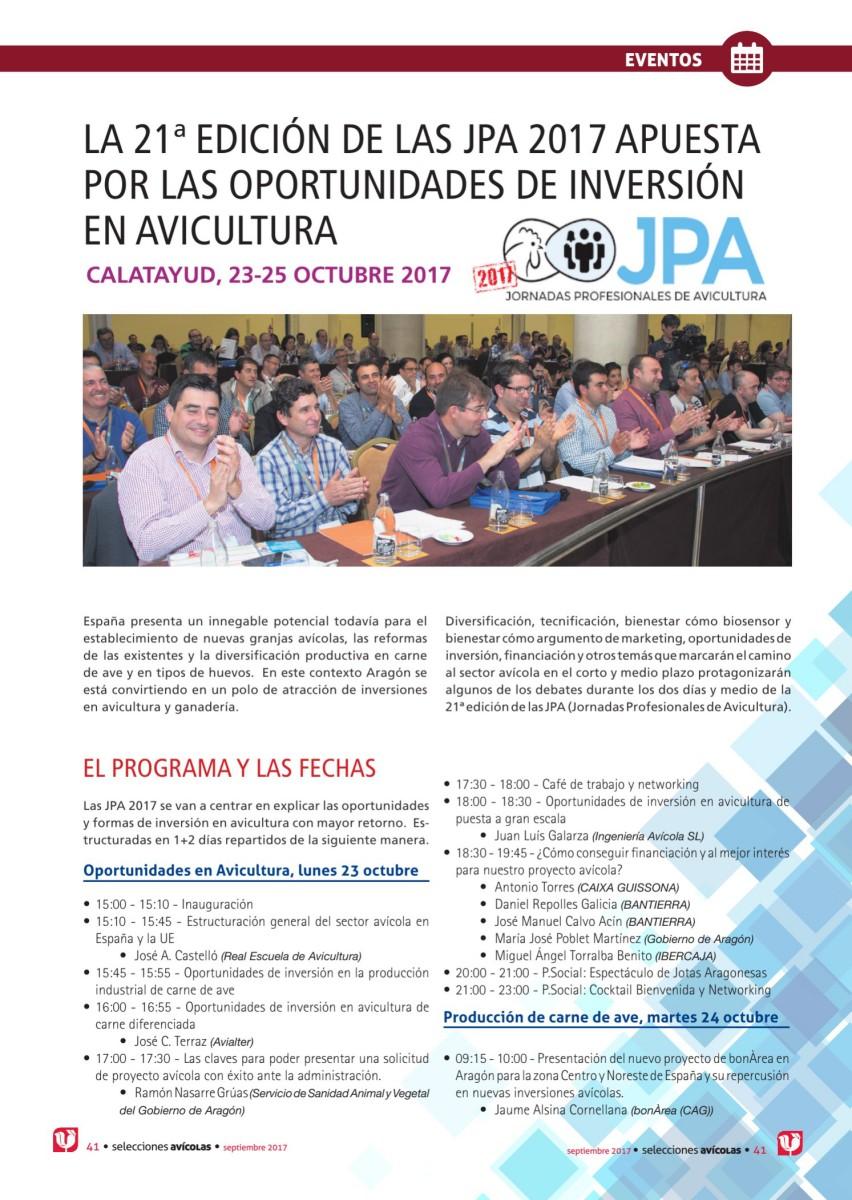 LA 21ª EDICIÓN DE LAS JPA 2017 APUESTA POR LAS OPORTUNIDADES DE INVERSIÓN EN AVICULTURA