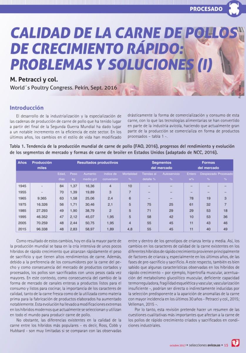 CALIDAD DE LA CARNE DE POLLOS DE CRECIMIENTO RÁPIDO: PROBLEMAS Y SOLUCIONES (I)