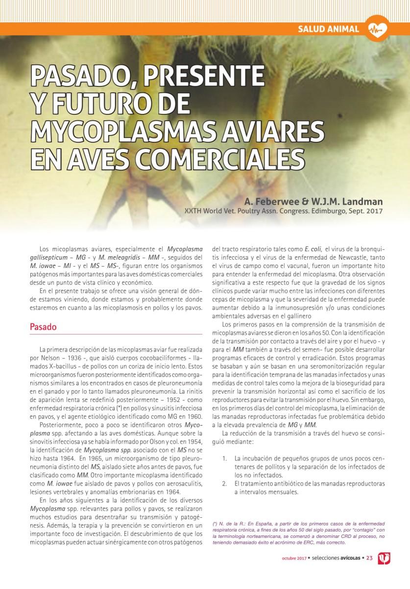 PASADO, PRESENTE Y FUTURO DE MYCOPLASMAS AVIARES EN AVES COMERCIALES