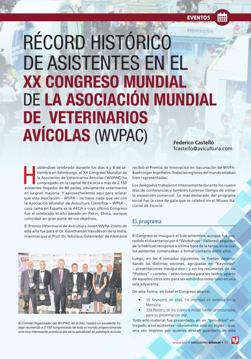 RÉCORD HISTÓRICO  DE ASISTENTES EN EL  XX CONGRESO MUNDIAL  DE LA ASOCIACIÓN MUNDIAL DE  VETERINARIOS AVÍCOLAS (WVPAC)