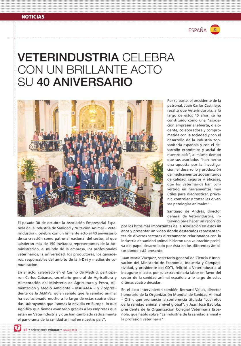 Veterindustria celebra con un brillante acto su 40 aniversario