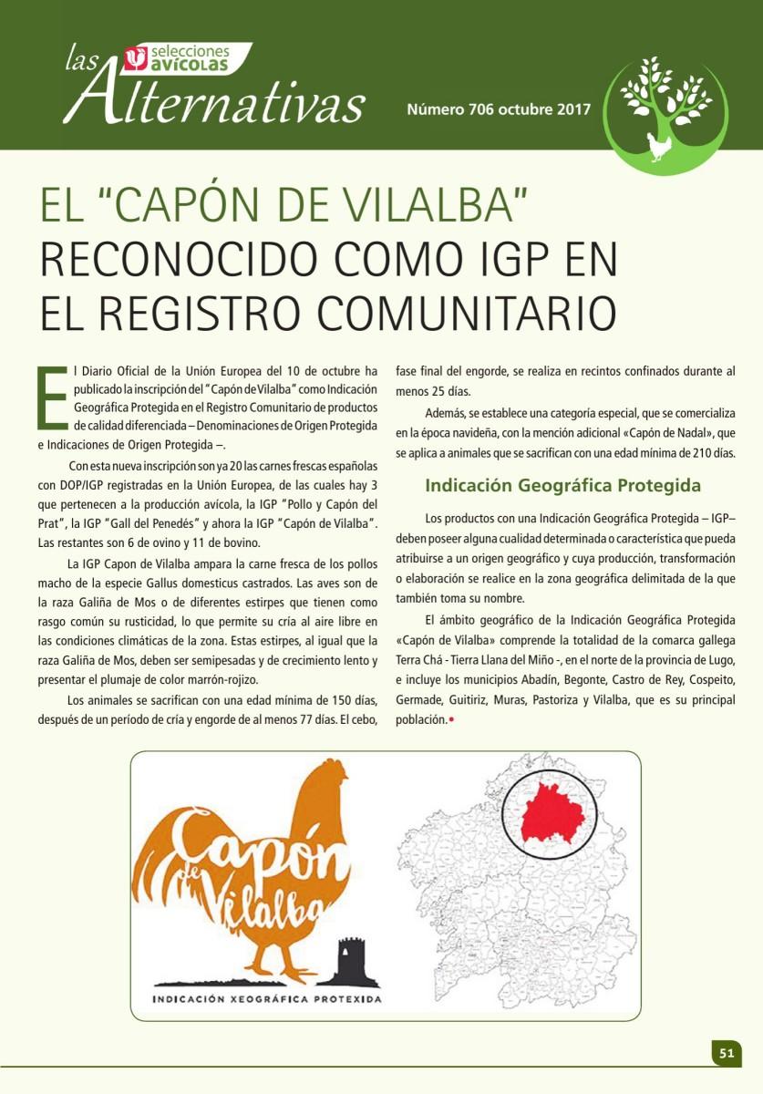 """EL """"CAPÓN DE VILALBA"""" RECONOCIDO COMO IGP EN  EL REGISTRO COMUNITARIO"""