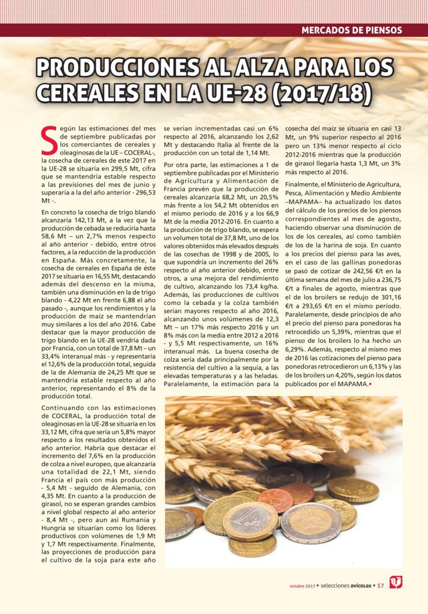 Producciones al alza para los CEREALES en la UE-28 (2017/18)