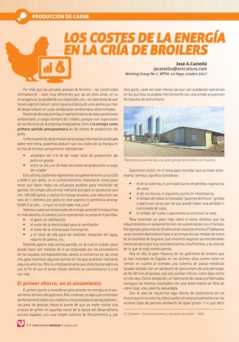 LOS COSTES DE LA ENERGÍA EN LA CRÍA DE BROILERS