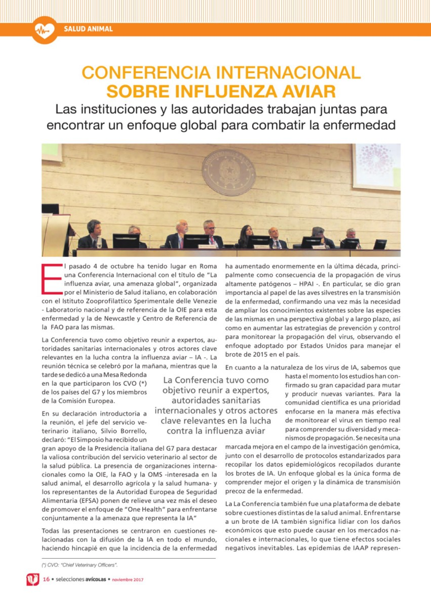 Conferencia internacional sobre influenza aviar
