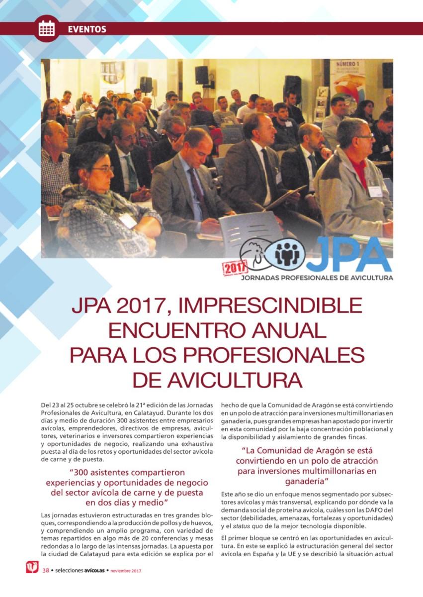 JPA 2017, imprescindible encuentro anual  para los profesionales  de avicultura