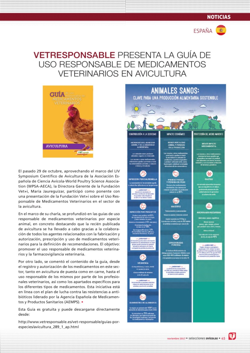 Vetresponsable presenta la Guía de Uso Responsable de Medicamentos Veterinarios en Avicultura