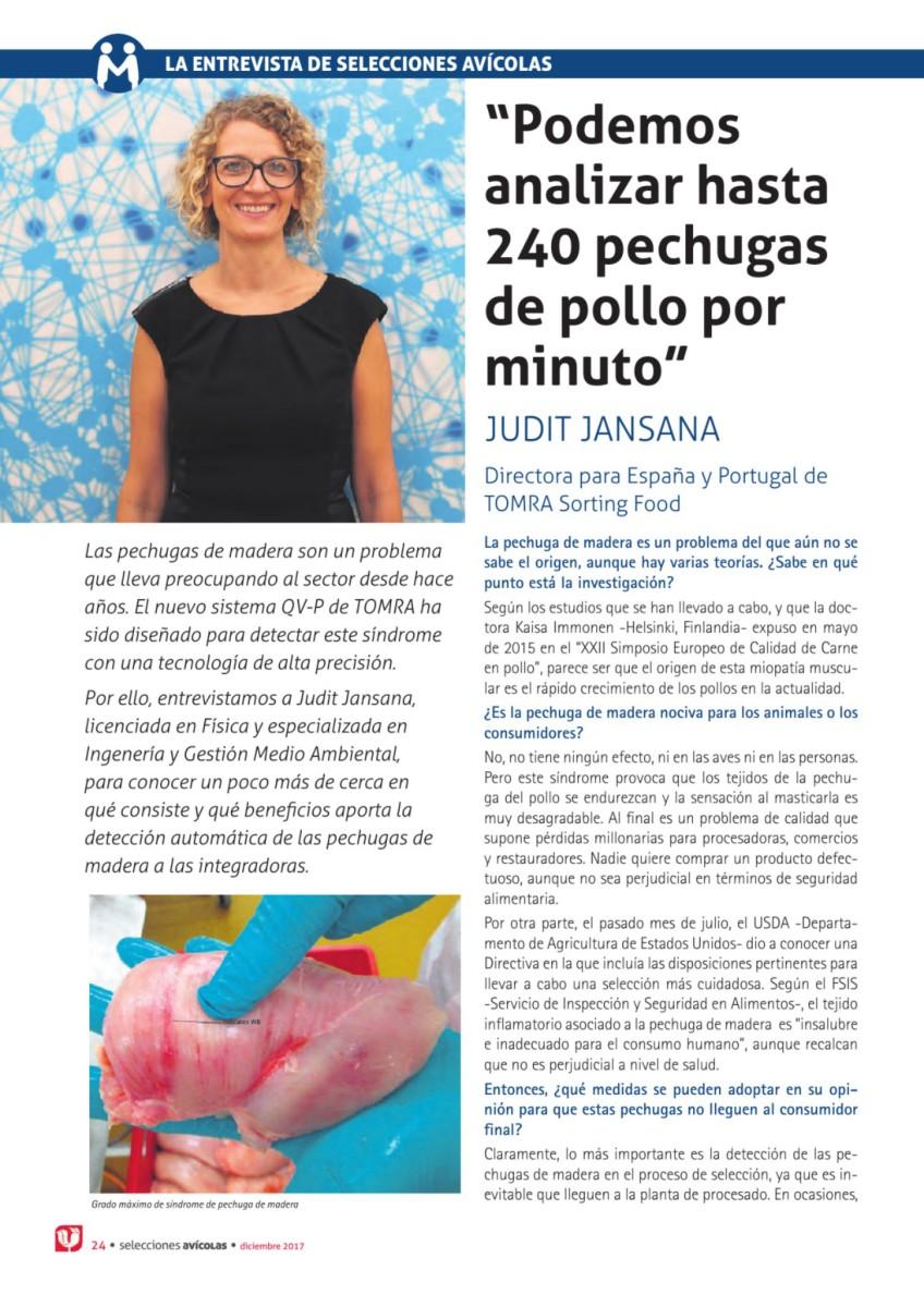 Entrevista a Judit Jansana, directora para España y Portugal de TOMRA Sorting Food