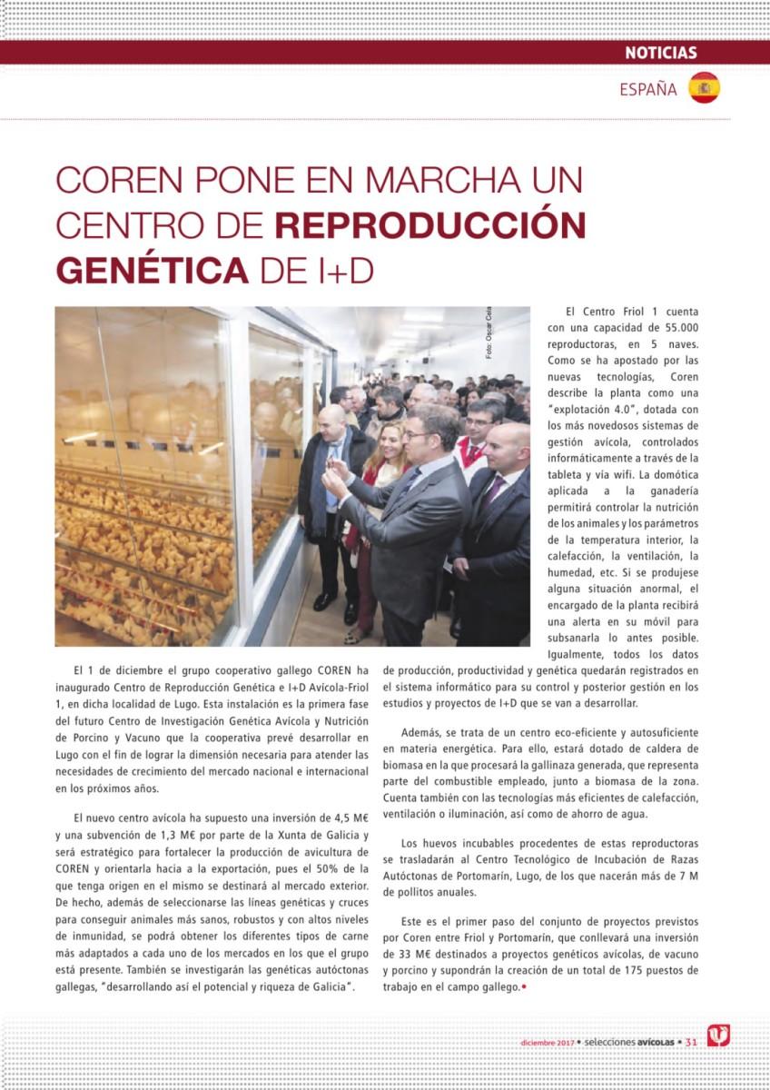 COREN pone en marcha un centro de reproducción genética de I+D
