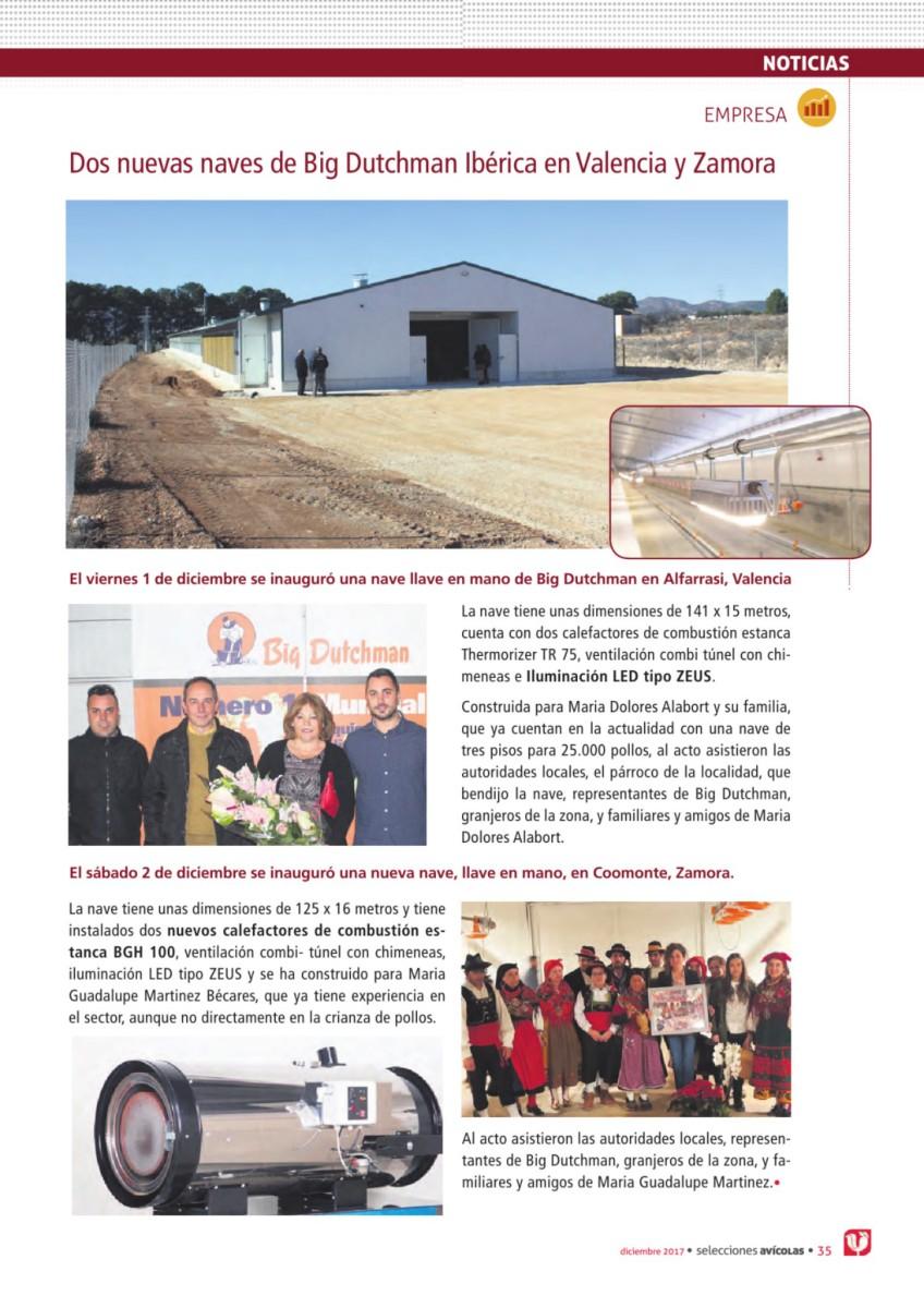Dos nuevas naves de Big Dutchman Ibérica en Valencia y Zamora