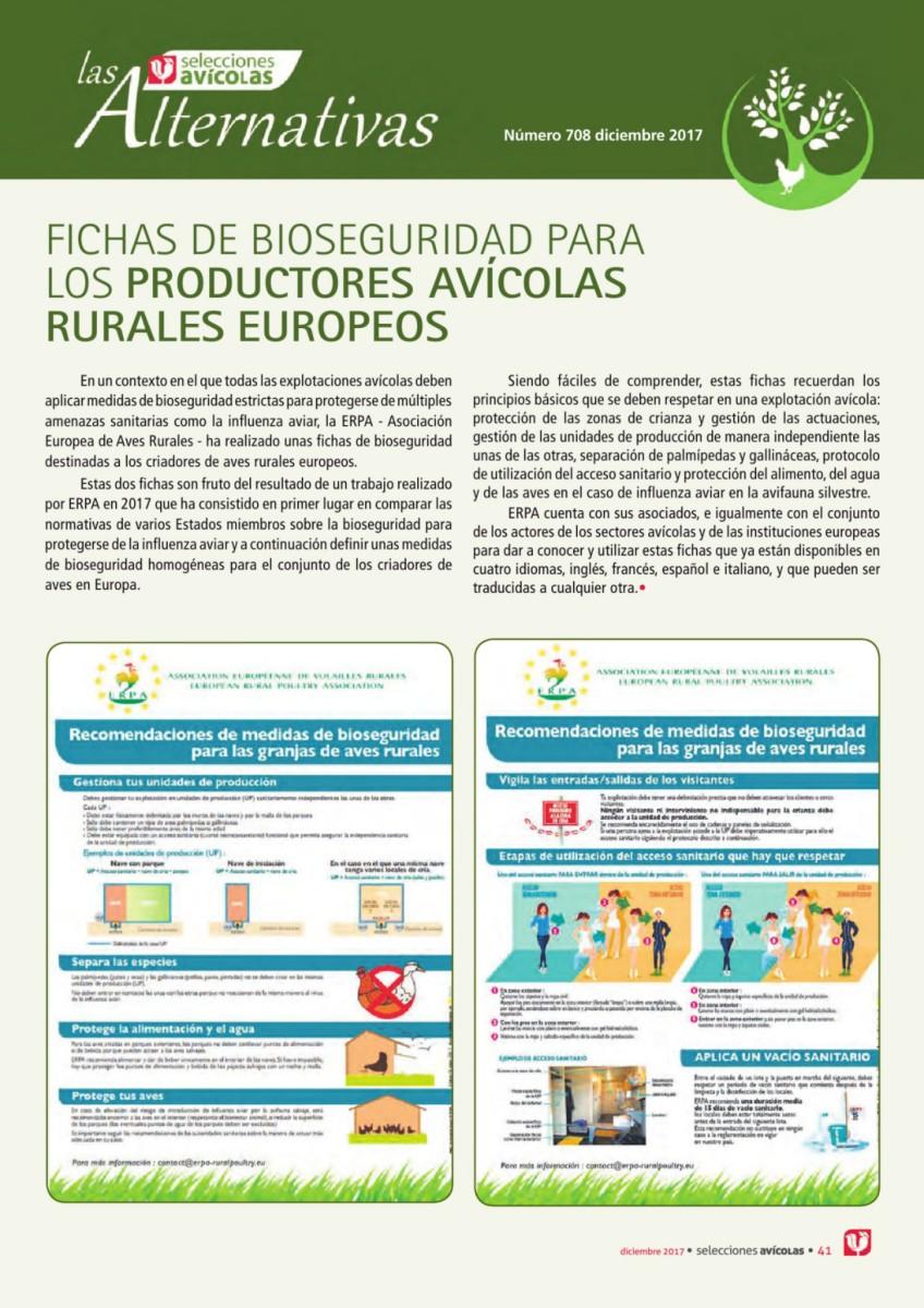 Fichas de bioseguridad para los productores avícolas rurales europeos