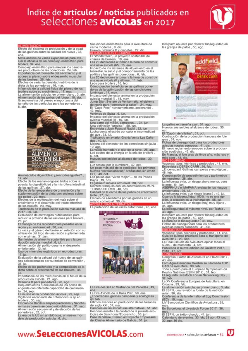 Índice de artículos / noticias publicados en Selecciones Avícolas