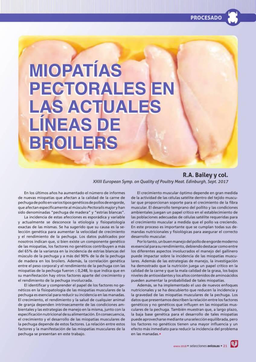 MIOPATÍAS PECTORALES EN LAS ACTUALES LÍNEAS DE BROILERS