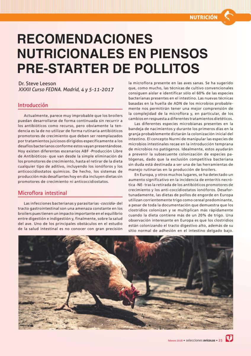RECOMENDACIONES NUTRICIONALES EN PIENSOS PRE-STARTER DE POLLITOS