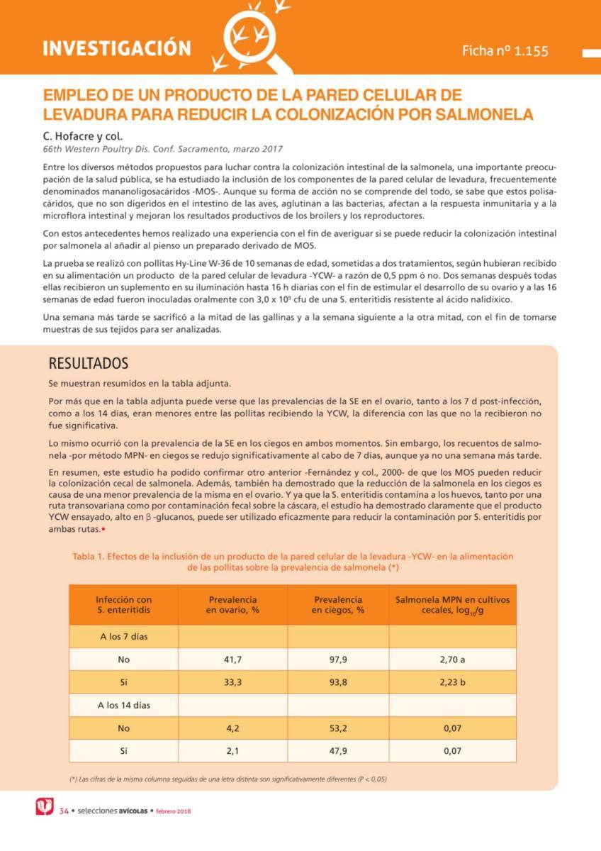 EMPLEO DE UN PRODUCTO DE LA PARED CELULAR DE LEVADURA PARA REDUCIR LA COLONIZACIÓN POR SALMONELA