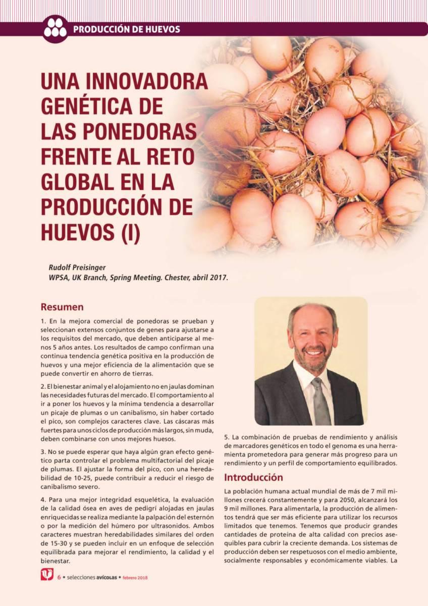 UNA INNOVADORA GENÉTICA DE LAS PONEDORAS FRENTE AL RETO GLOBAL EN LA PRODUCCIÓN DE HUEVOS (I)