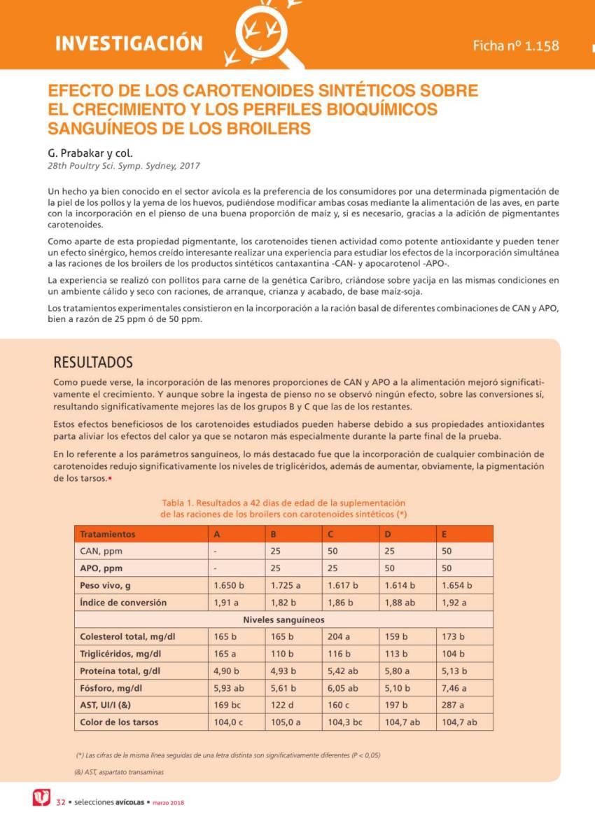 EFECTO DE LOS CAROTENOIDES SINTÉTICOS SOBRE  EL CRECIMIENTO Y LOS PERFILES BIOQUÍMICOS  SANGUÍNEOS DE LOS BROILERS