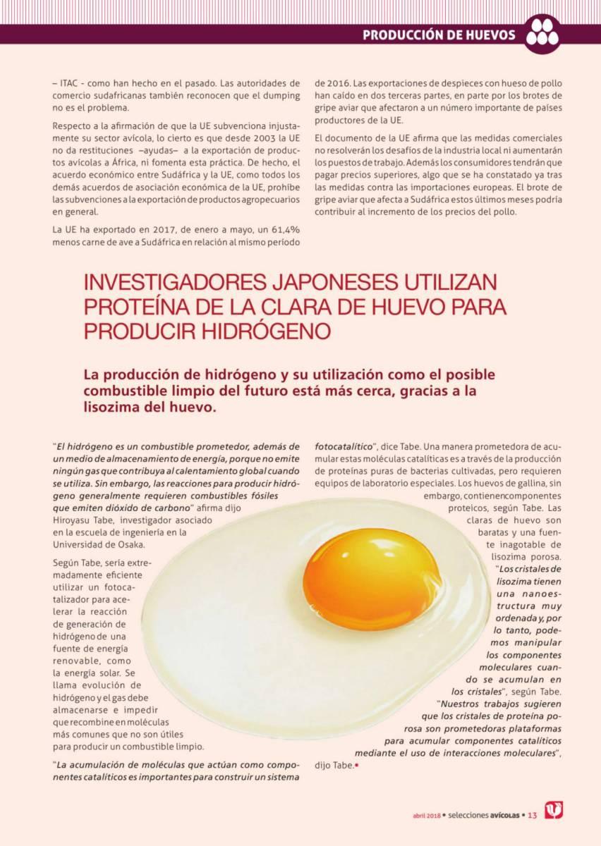 Investigadores japonesesutilizanproteínade laclarade huevo para producir hidrógeno
