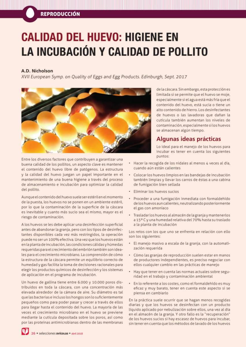 Calidad del huevo: higiene en  la incubación y calidad de pollito