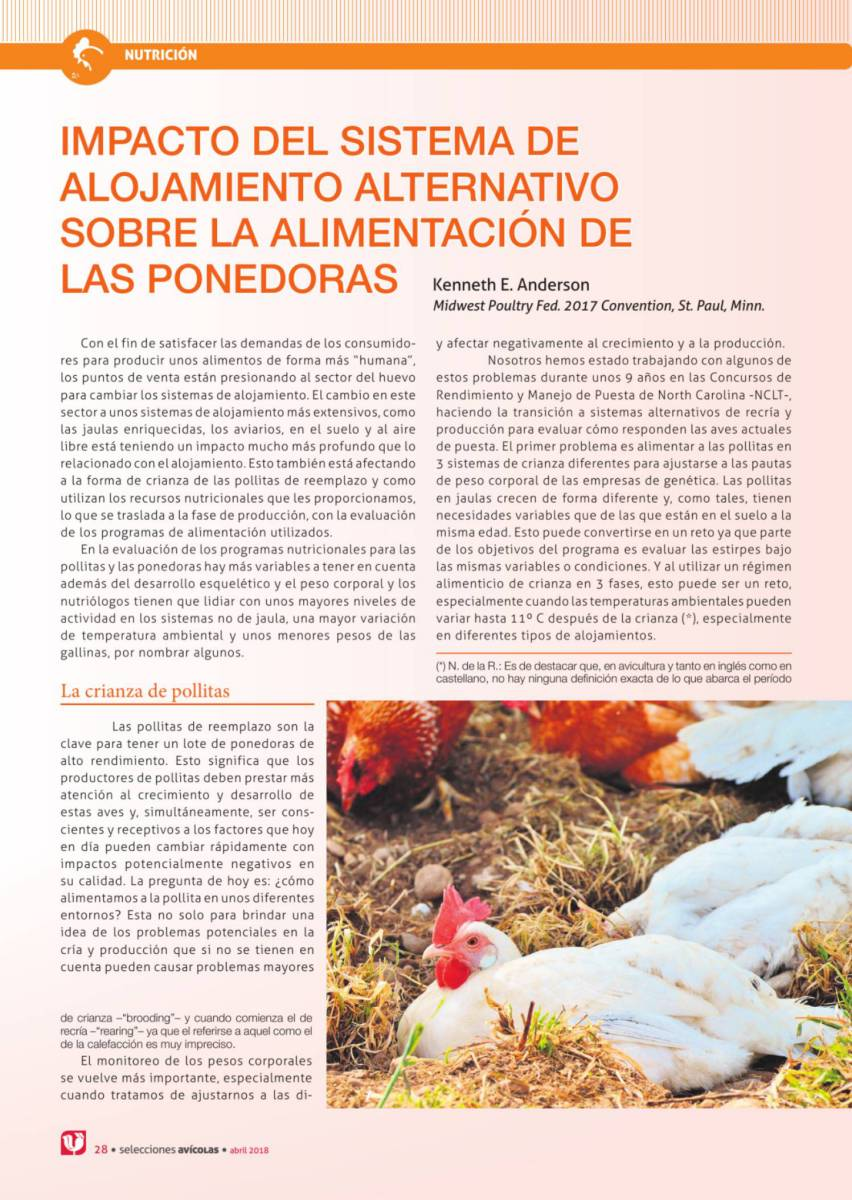 Impacto del sistema de alojamiento alternativo sobre la alimentación de las ponedoras