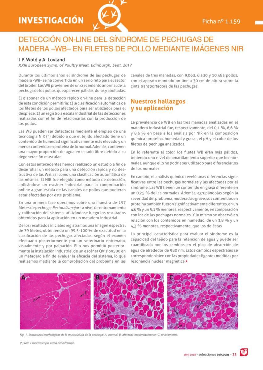 Detección on-line del síndrome de pechugas de madera –wb– en filetes de pollo mediante imágenes nir