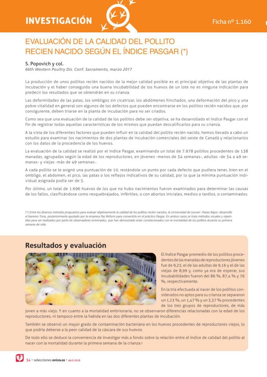 Evaluación de la calidad del pollito recién nacido según el índice Pasgar (*)