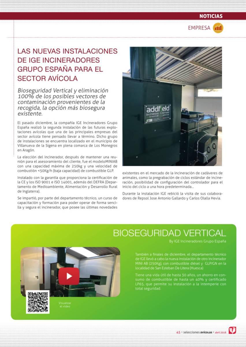 Las nuevas instalaciones de IGE incineradores grupo españa para el sector avícola
