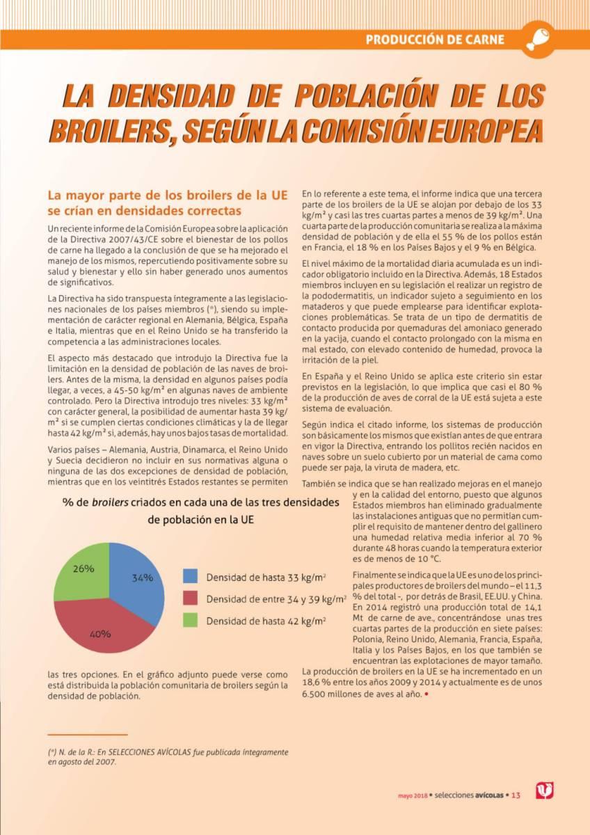 LA DENSIDAD DE POBLACIÓN DE LOS BROILERS, SEGÚN LA COMISIÓN EUROPEA