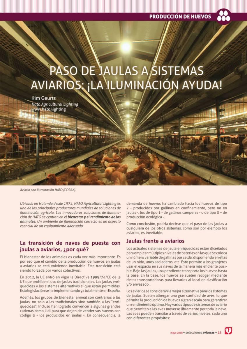 Paso de jaulas a sistemas aviarios: ¡la iluminación ayuda!