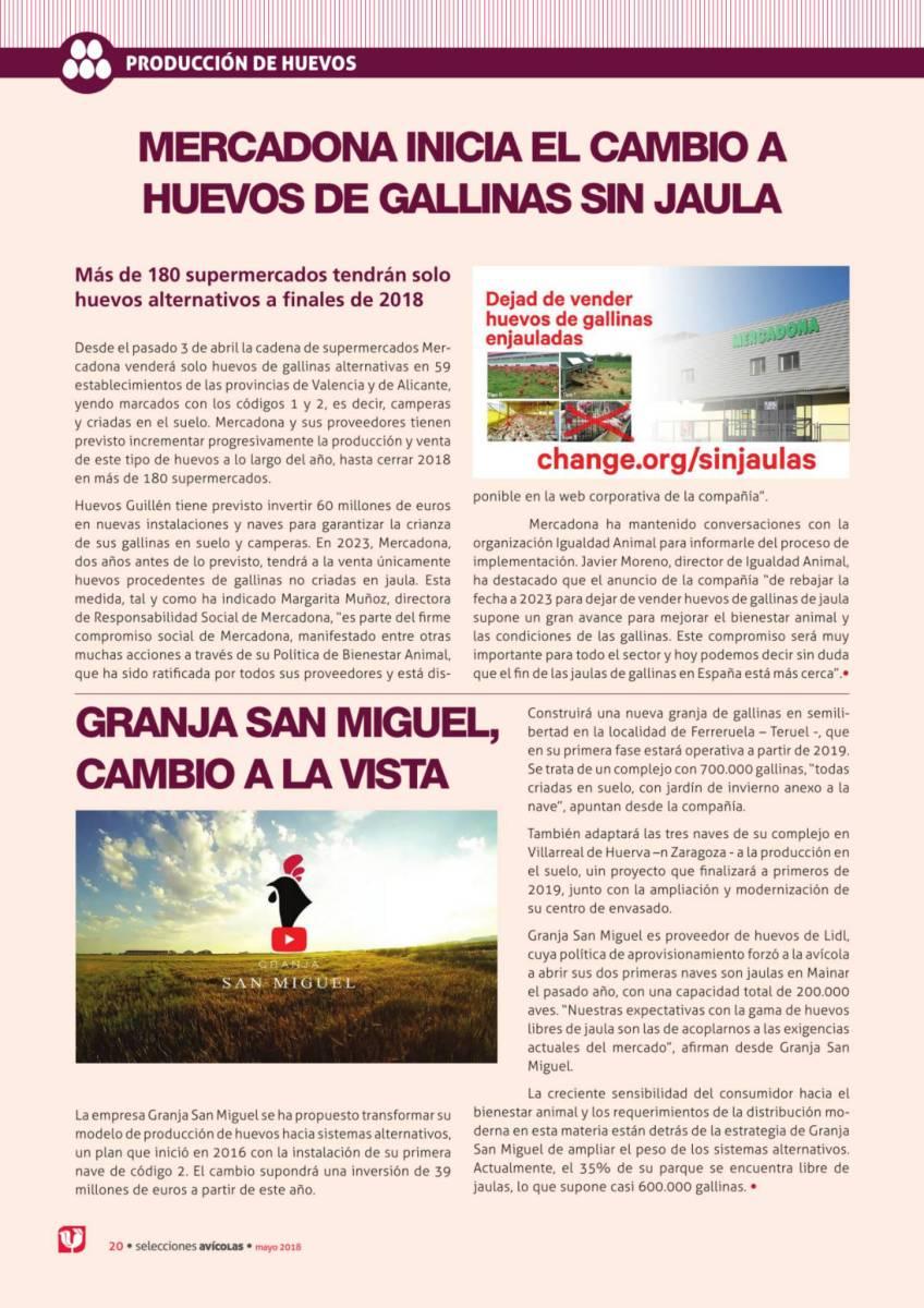 MERCADONA INICIA EL CAMBIO A HUEVOS DE GALLINAS SIN JAULA