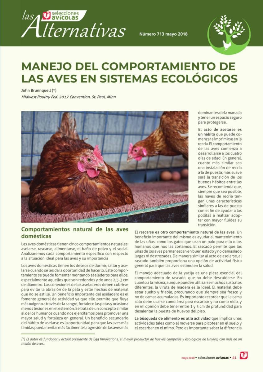 MANEJO DEL COMPORTAMIENTO DE LAS AVES EN SISTEMAS ECOLÓGICOS