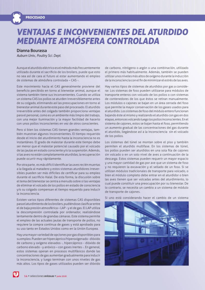 VENTAJAS E INCONVENIENTES DEL ATURDIDO MEDIANTE ATMÓSFERA CONTROLADA