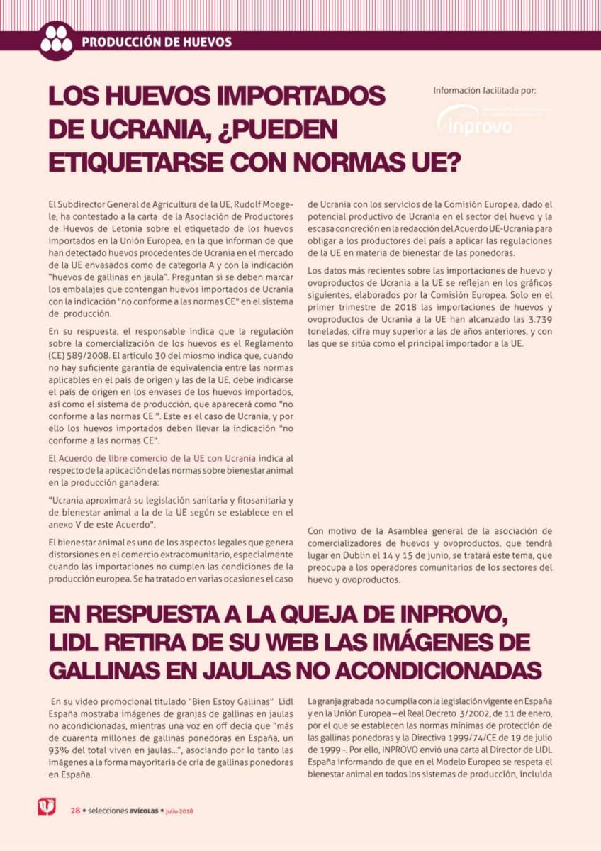 LOS HUEVOS IMPORTADOS DE UCRANIA, ¿PUEDEN ETIQUETARSE CON NORMAS UE?