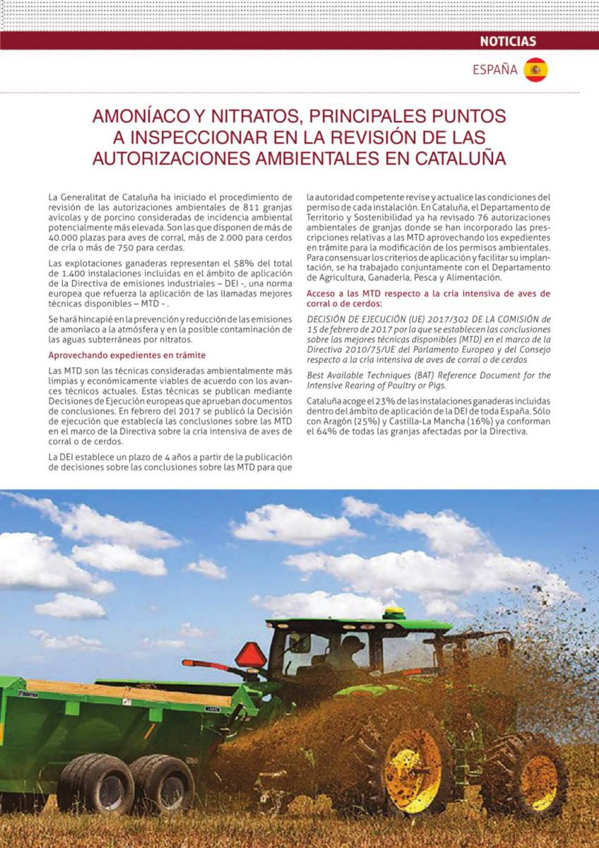 Amoníaco y nitratos, principales puntos a inspeccionar en la revisión de las autorizaciones ambientales en Cataluña