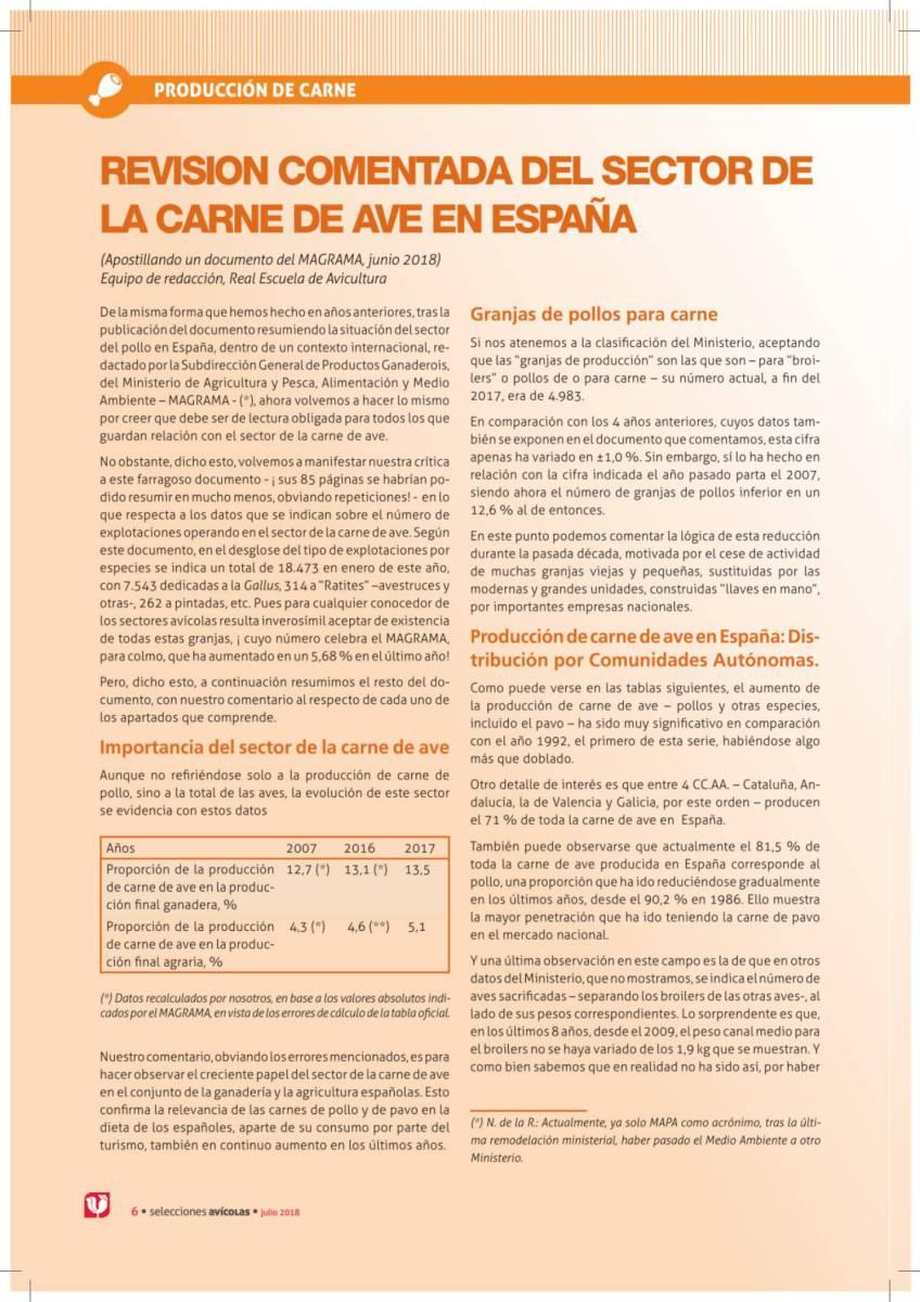 REVISION COMENTADA DEL SECTOR DE LA CARNE DE AVE EN ESPAÑA