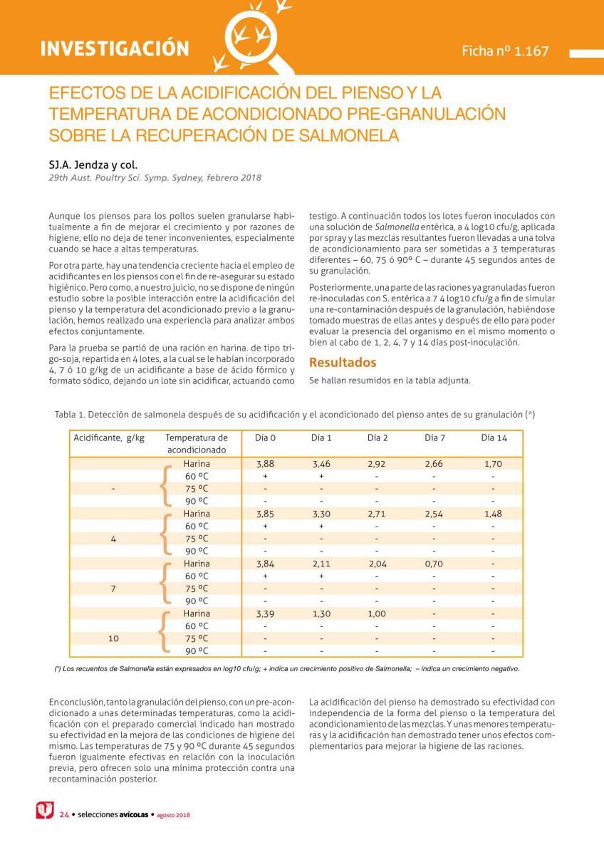Efectos de la acidificación del pienso y la temperatura de acondicionado pre-granulación sobre la recuperación de Salmonela