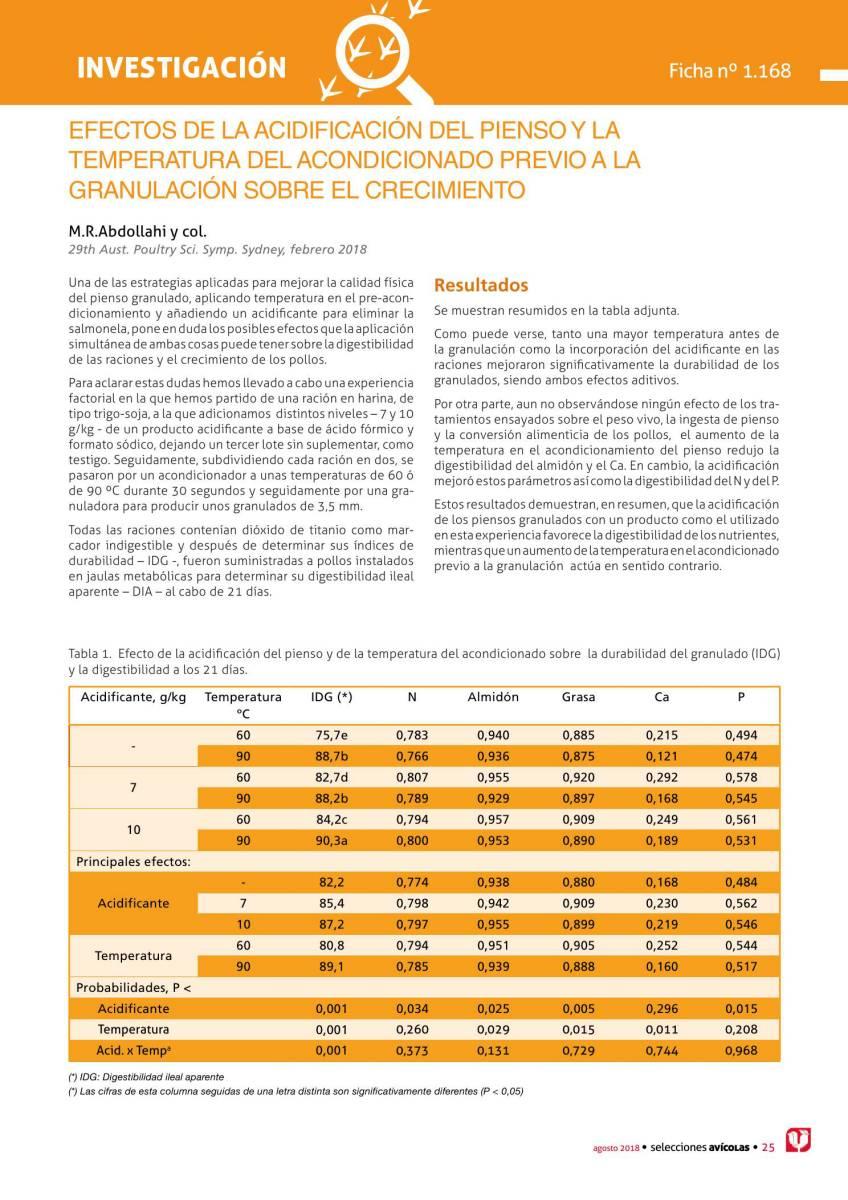 Efectos de la acidificación del pienso y la temperatura del acondicionado previo a la granulación sobre el crecimiento