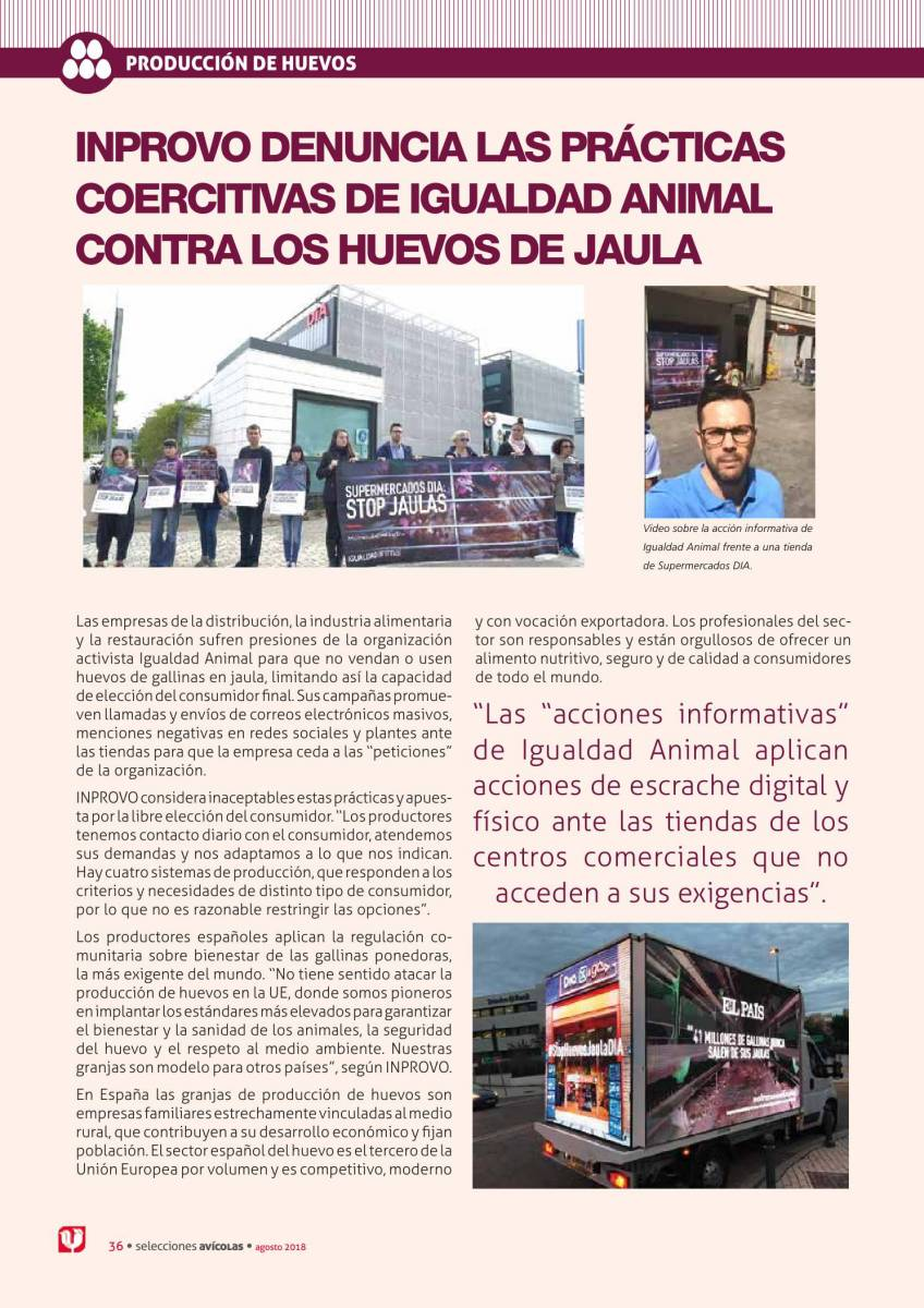 Inprovo denuncia las prácticas coercitivas de igualdad animal contra los huevos de jaula