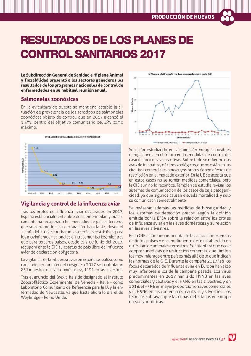 Resultados de los planes de control sanitarios 2017