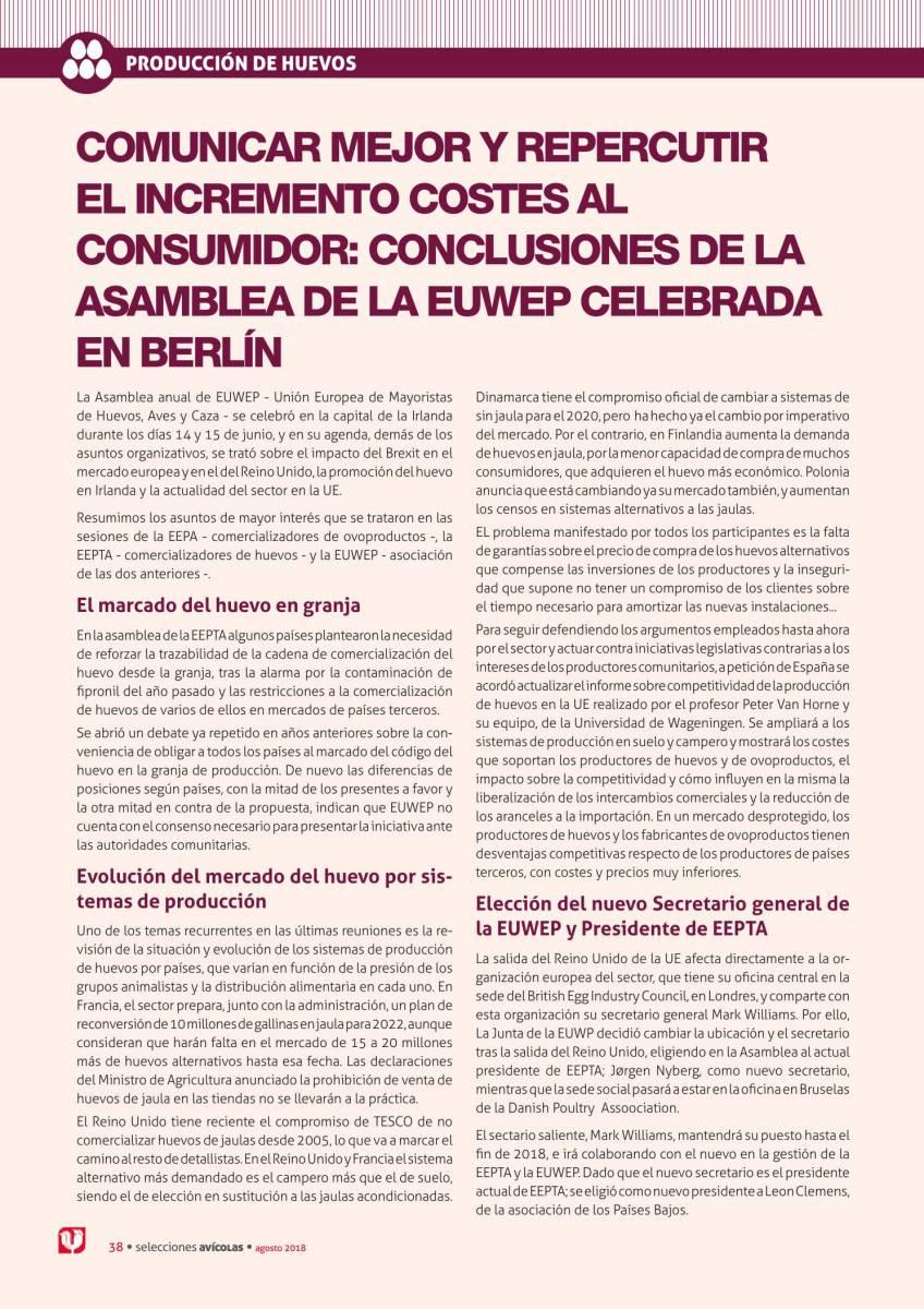 Comunicar mejor y repercutir el incremento costes al consumidor: conclusiones de la asamblea de la EUWEP celebrada en Berlín