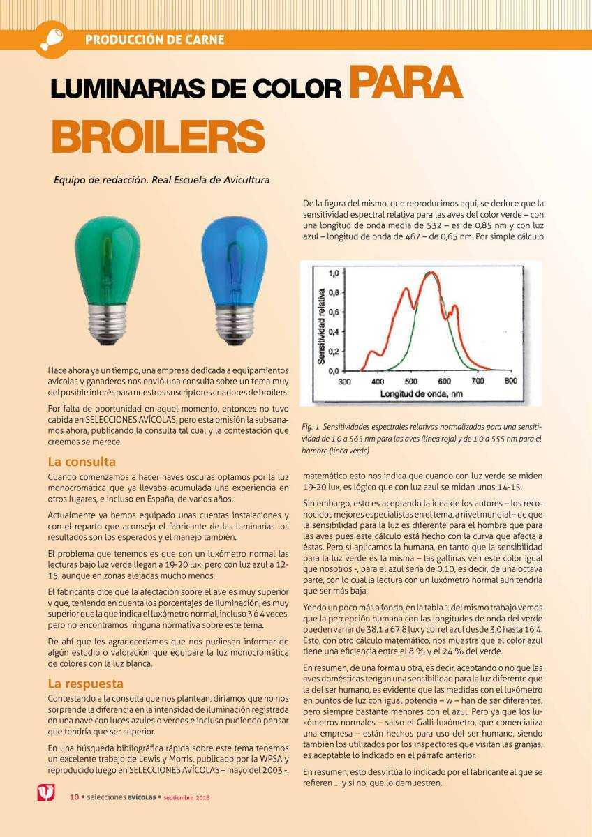 Luminarias de color para broilers