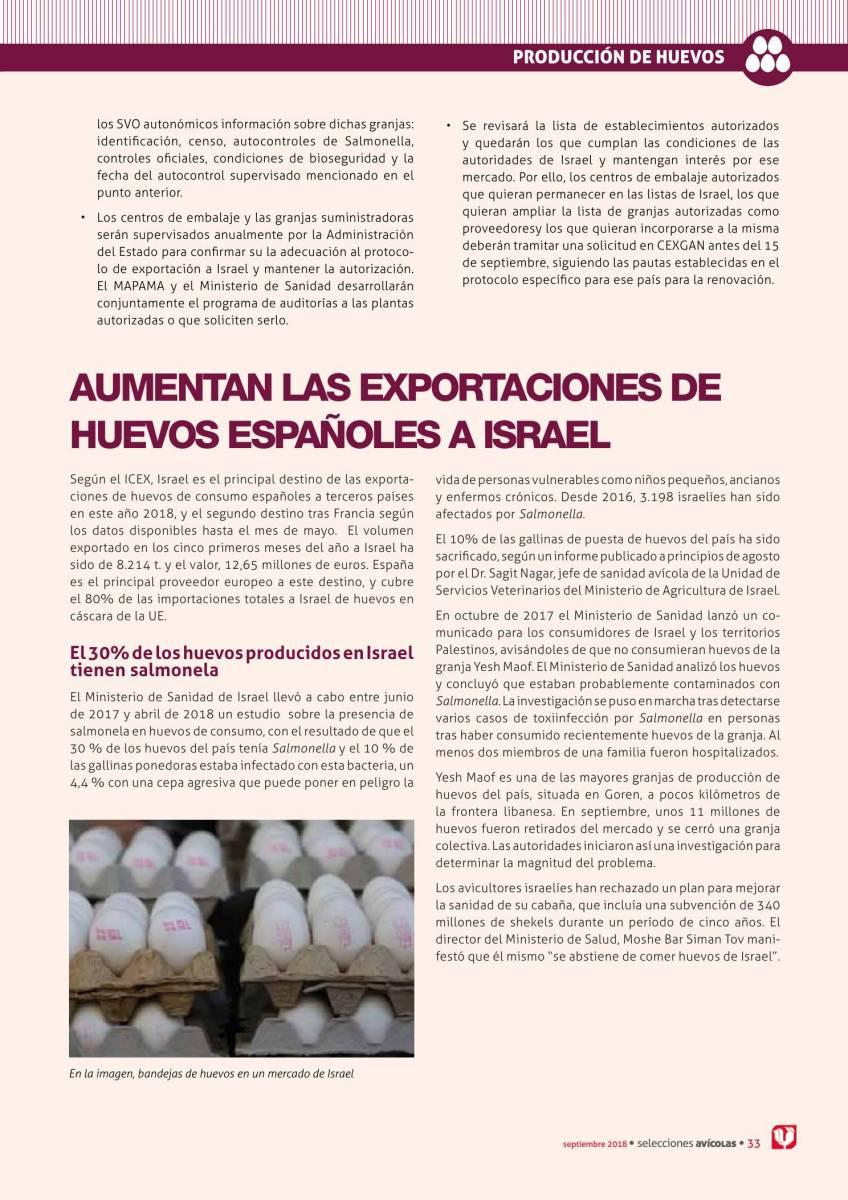 Aumentan las exportaciones de huevos espanoles a Israel
