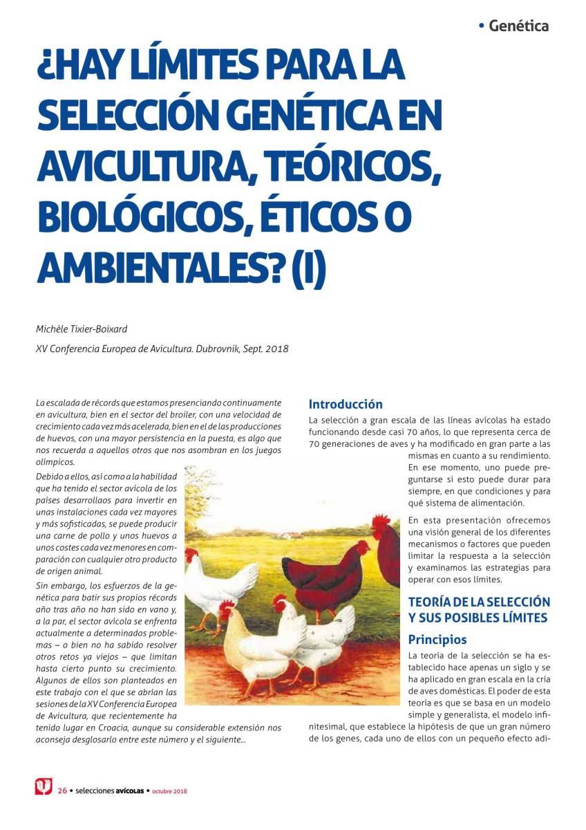 ¿Hay límites para la selección genética en avicultura, teóricos, biológicos, éticos o ambientales? (I)
