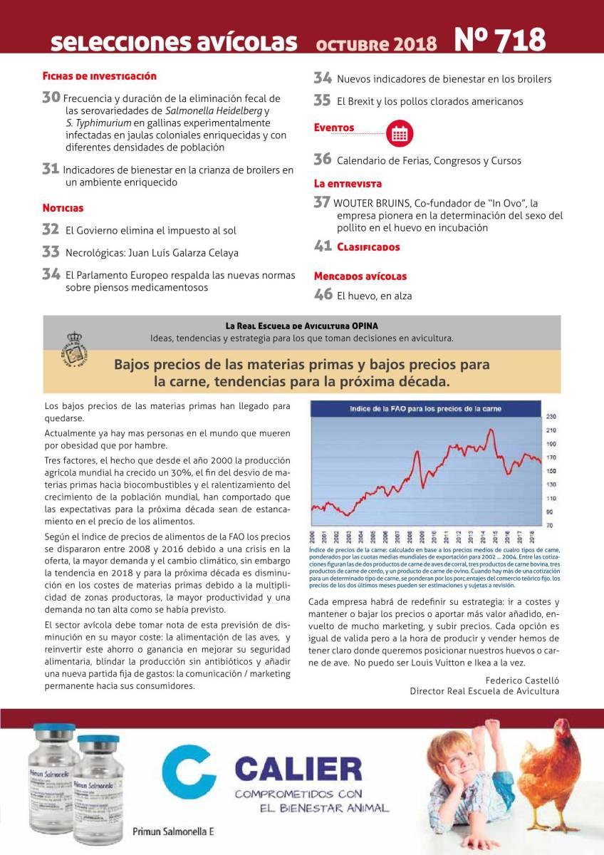 La Real Escuela de Avicultura OPINA: Bajos precios de las materias primas y bajos precios para  la carne, tendencias para la próxima década
