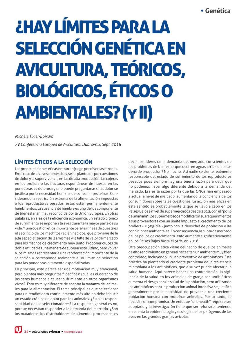 ¿Hay límites para la selección genética en avicultura, teóricos, biológicos, éticos o ambientales? (y II)