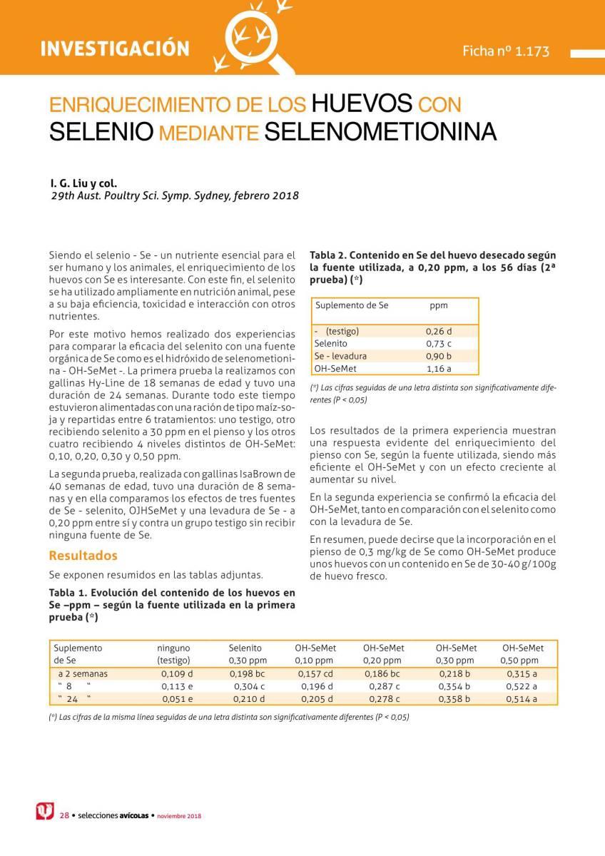 Enriquecimiento de los huevos con Selenio mediante Selenometionina