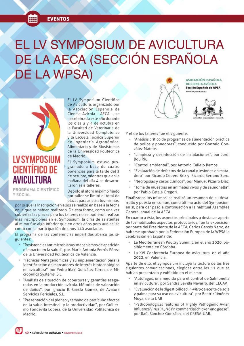 El LV Symposium de avicultura de la AECA (Sección española de la WPSA)
